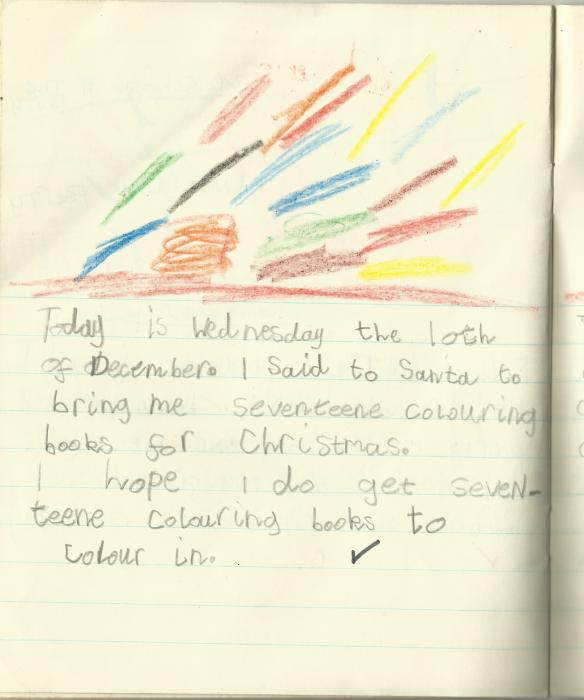 Ah, yes. I might've been greedy (seventeen colouring books? How very middle-class of me) and shit at writing, but at least I had counting nailed. There are indeed seventeen splodges of colour in the beautifully rendered picture above the diary entry. I was deadly at counting, and this skill has paid dividends in the adult world. I'm awesome at counting up how much money I don't have. Sorry for saying there were seventeen splodges of colour. There are clearly 'seventeene.' It wasn't a spelling mistake, as my teacher knew fine well. Clearly I was so advanced I'd decided to slip in a wee bit of Shakespeare.