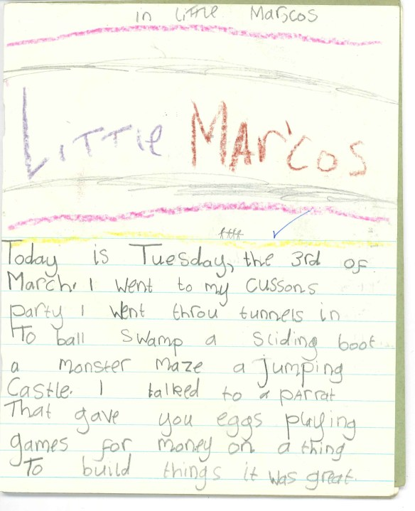 "Little Marcos was an adventure play-area in Glasgow. I could've drawn a thousand different things to represent the experience on the page: colourful things, fun things. Instead I chose a giant sign that reads 'Little Marcos'. A sign, I may add, that never existed in real life. How can I be sure it never existed? Because the little stick family I drew beneath it suggests a scale that would place the sign somewhere in the region of sixty-feet above our heads, and composed of letters more than a hundred feet high. It's a degree of opulence that tends not to exist outside of Stalinist Russia or an alternate universe where the Nazis won. Clearly I had a lot of space to fill on that page, and instead of offering a considered and detailed picture, my young brain simply thought, 'Fuck it, teacher, you're getting big letters and you'll be happy with them, pal.' And, indeed, the teacher seemed satisfied, seeing fit to dispense another in a long line of too-easy ticks. I would've respected her more had she written: ""Jamie, you're a lazy wee cock. If you were Van Gogh I expect that your famous self-portrait would've been a canvas with the words 'THIS IS ME' written on it. PS You disgust me.""  Screw her, though, because she didn't seem to notice that I'd spelled Little Marcos ""Little Mar'Cos"", with an apostrophe half-way through the word, as if it was a Klingon moon or something. Actually, where does the apostrophe go? Was the proprietor Marco, or his Spanish cousin Marcos? Was there one little Marco, or several? OK, this one's a bit of a minefield, so I think I'll excuse my teacher's brazen approach to marking in this instance.   Less forgiveable is the blind eye she turned to my spelling of ""cousin's"". Going to my cussons party was I, teach? The soap party? All of us herded into a big warehouse, being scrubbed down for three hours? You bloody goof-ball of a woman. Anyway. I think I should be commended for coming up with an alternative set of lyrics to 'Fast Car' that improve the song immeasurably. Try it. Experiment with different ways of fitting my diary extract to the song. I did. For about ten minutes. AND THEY SAID I'D COME TO NOTHING?!!"