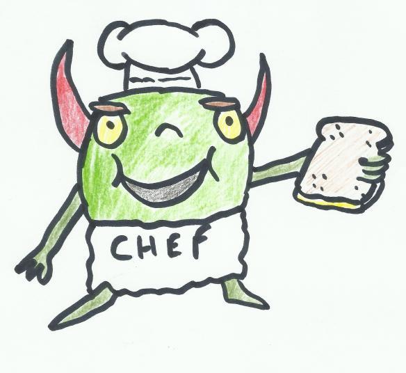 Alien makes a sandwich