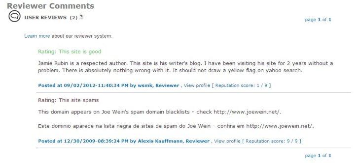 SiteAdvisor Comments