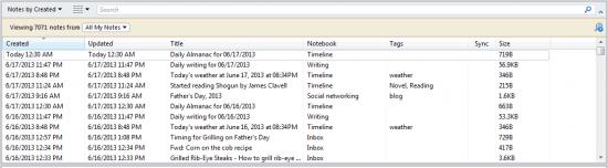 Evernote Timeline