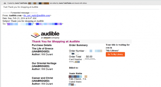 Audible Receipt