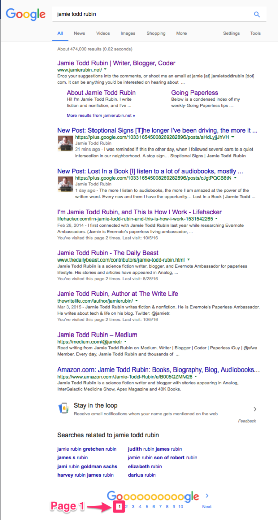 Jamie Todd Rubin Google Ranking