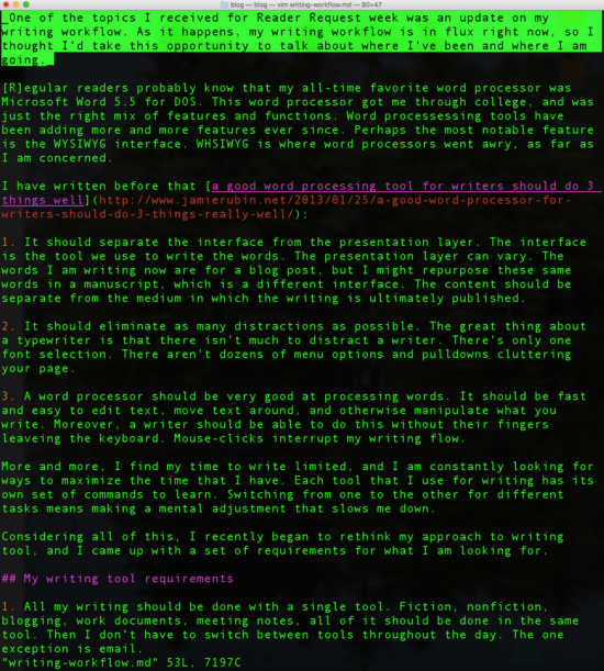 A draft of this post in Vim using Markdown