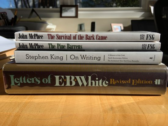 Books by John McPhee, Stephen King, and E.B. White