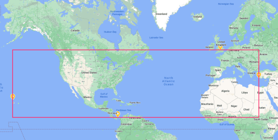 A map of the extremes of my travel.