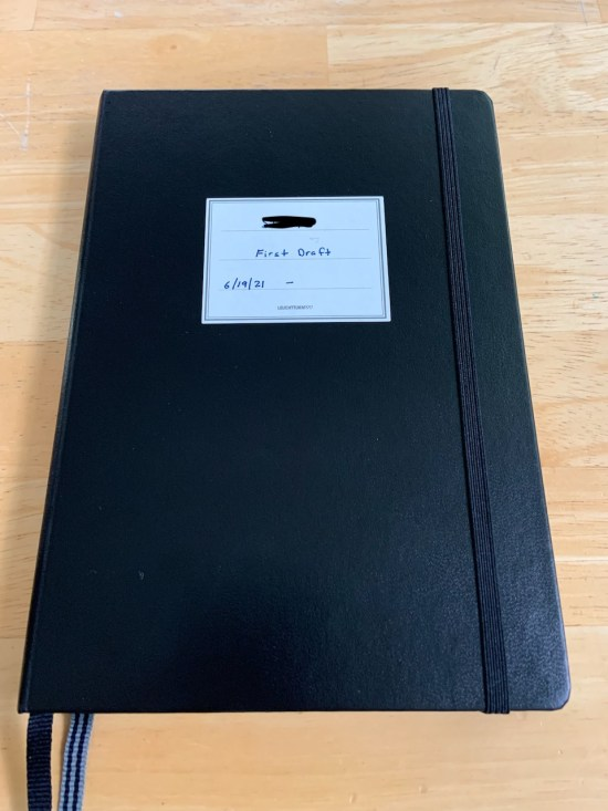 The Leuchtturm 1917 notebook in which I am writing the first draft of this novel.