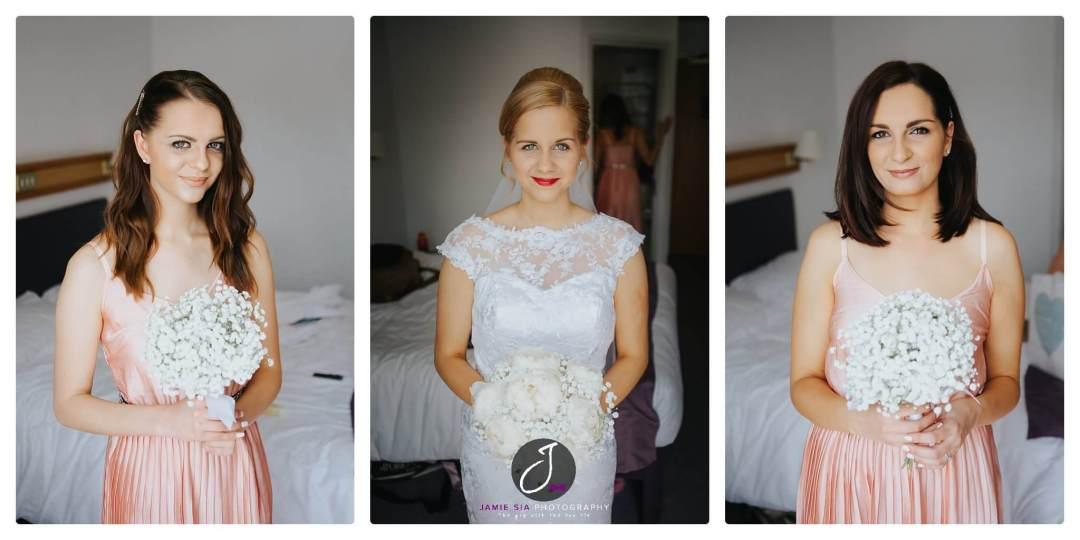 Beautiful trio bride with bridesmaids Yorkshire Wedding