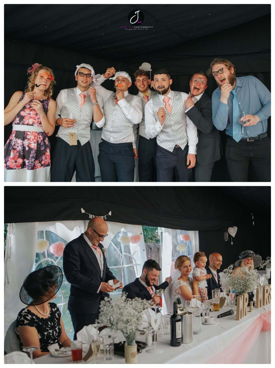 Fun pop up masks group wedding photo Yorkshire