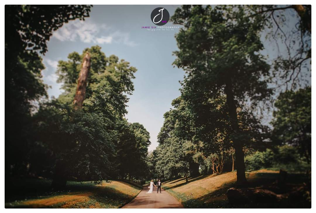 Beautiful natural woodland wedding portrait at Holmfield Arms Yorkshire