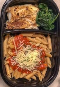 cod pasta marinara and spinach