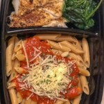 cod pasta marinara and spinach