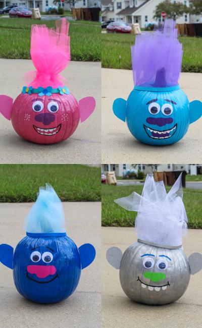 Trolls Painted Pumpkins