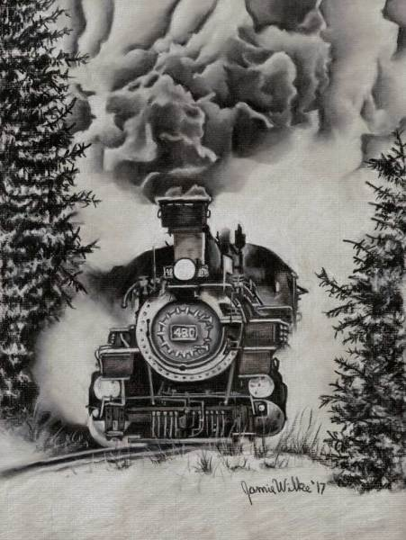 Black and white charcoal train drawing by Jamie Wilke showcases the Durango & Silverton Railroad #480.