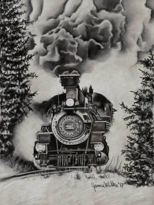 Colorado Steam Train Charcoal Drawing - Durango & Silverton Railroad #480. The depicted engine is a K-36 2-8-2 steam locomotive