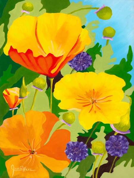 Poppies and Buttons - Original Oil Painting by Jamie Wilke Fine Art