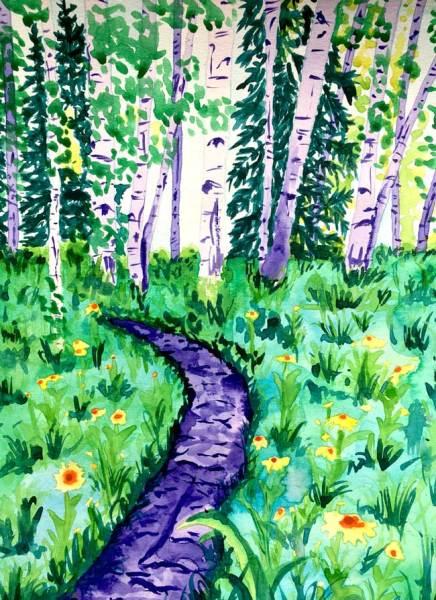 """""""Crested Butte Flower Trail"""" - Watercolor by Colorado Artist Jamie Wilke - Summer Aspens, Flower Field, Single Track"""