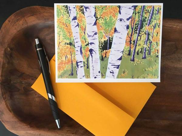 Fine Art Notecard: Autumn Aspens - by Palmer Lake Artist Jamie Wilke