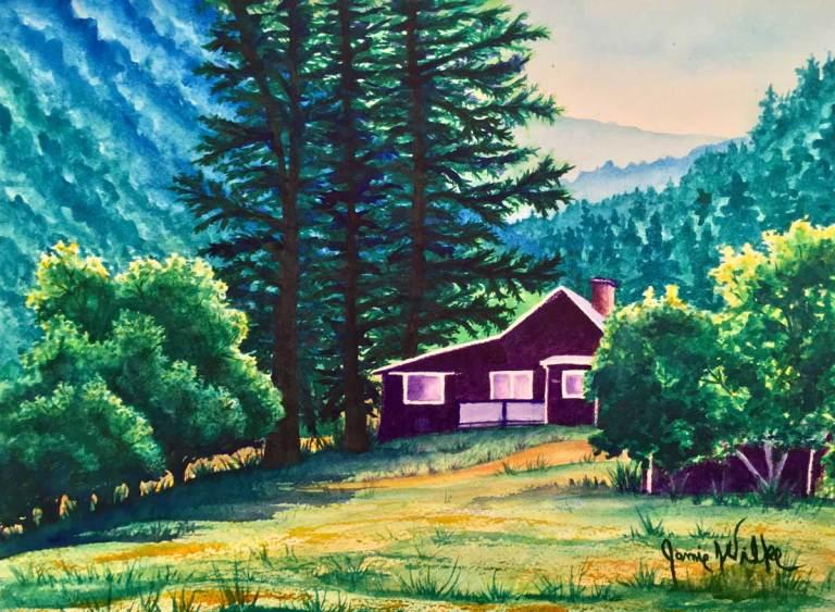 Summer Cabin in the Rockies - Watercolor by Palmer Lake Artist Jamie Wilke