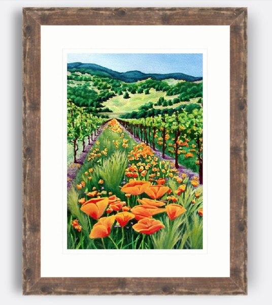 Untitled - California Poppies Vineyard Watercolor by Jamie Wilke - Framed in Reclaimed Wood