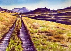 """Greenland Wide Open"" - 10x14"" original watercolor art by Colorado Artist Jamie Wilke"