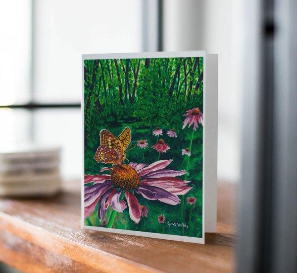 """Fine Art Notecard: """"Butterfly on Coneflower"""" by Jamie Wilke"""