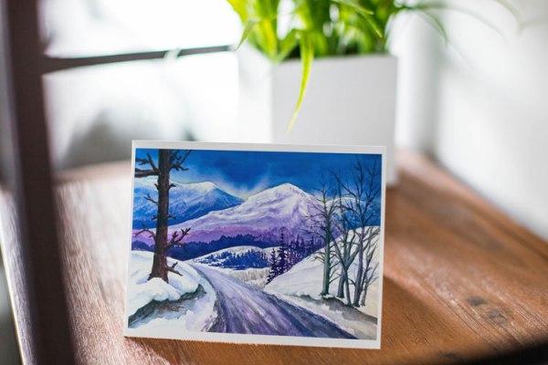 """""""Rocky Mountain Winter Sunset"""" - Fine Art Notecard by Jamie Wilke"""