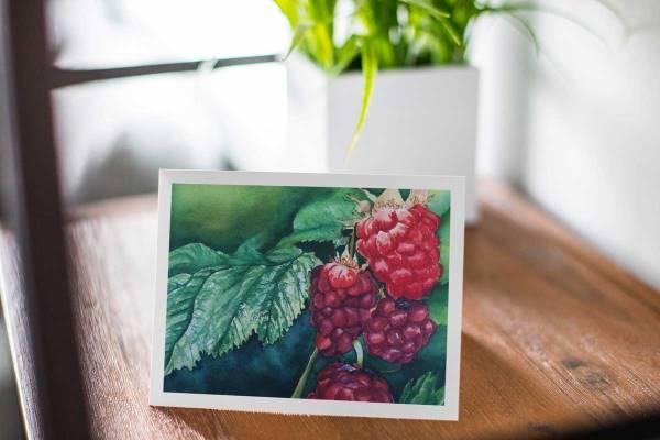 Sun Kissed Raspberries - Fine Art Notecard by artist Jamie Wilke