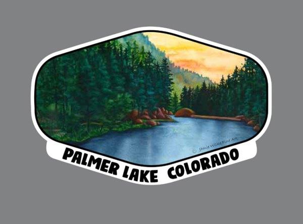 Vinyl Sticker of Palmer Lake Reservoir - hexagon - by art Jamie Wilke
