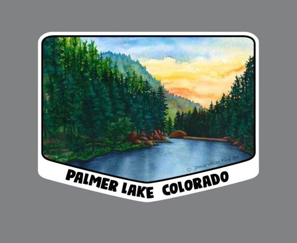 Vinyl Sticker of Palmer Lake Reservoir LARGE 4.25in x 3.25in - by artist Jamie Wilke