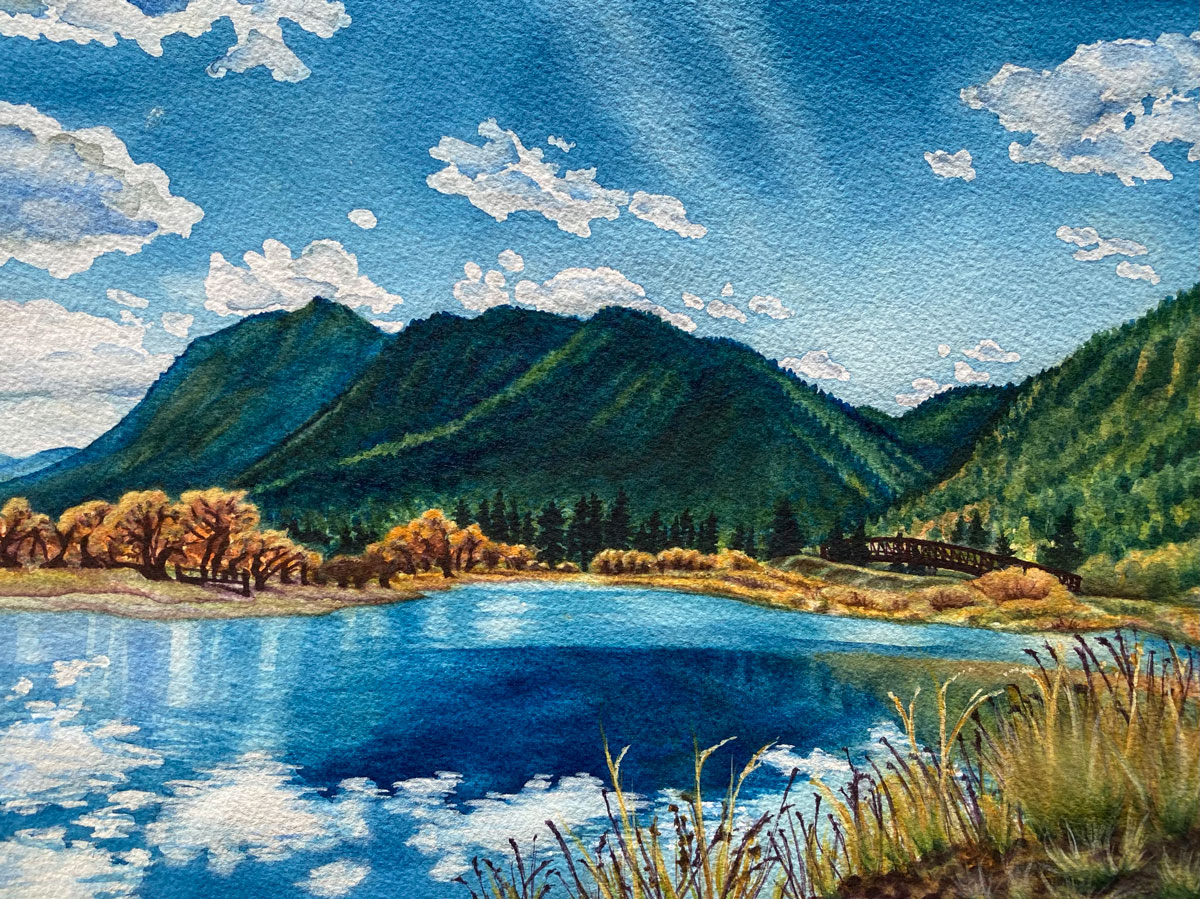 Palmer Lake Reflections 11x14in watercolor by Jamie Wilke - large version