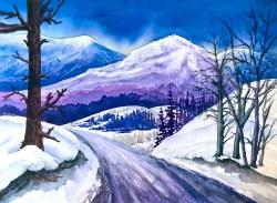 Rocky Mountain Winter Sunset - watercolor by Jamie Wilke