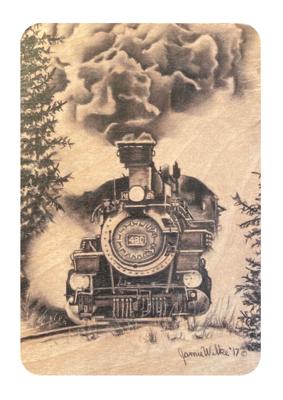 Colorado Steam Train: Buy a Wood Magnet Plant a Tree - Jamie Wilke Fine Art