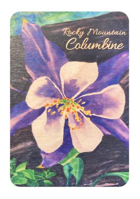 Rocky Mountain Columbine: Buy a Wood Magnet Plant a Tree - Jamie Wilke Fine Art