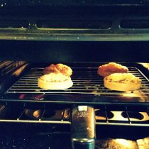 Crumpets with Marmite & Cheese under the grill