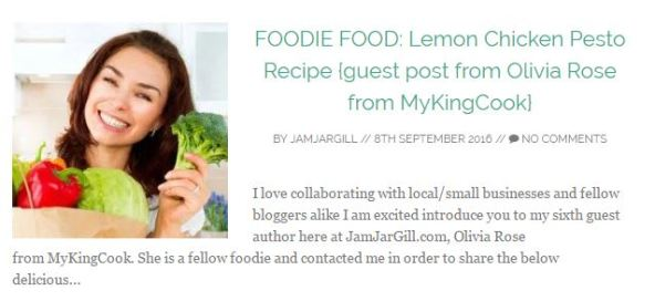 FOODIE FOOD: Lemon Chicken Pesto Recipe {guest post from Olivia Rose from MyKingCook}