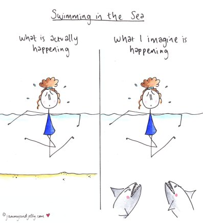 Swimming in the sea - illustration by jammy and jelly