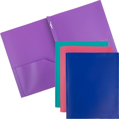 plastic folders with clips