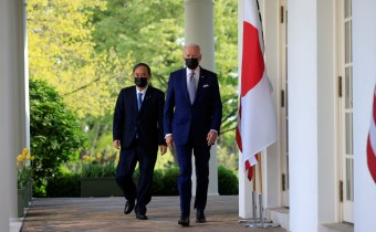 U.S. President Joe Biden and Japan's Prime Minister Yoshihide Suga arrive for a joint news conference in the Rose Garden at the White House in Washington, U.S., April 16, 2021. REUTERS/Tom Brenner