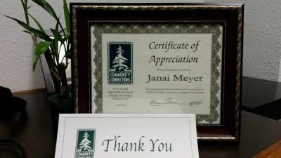 Community Connection Award to Janai Meyer