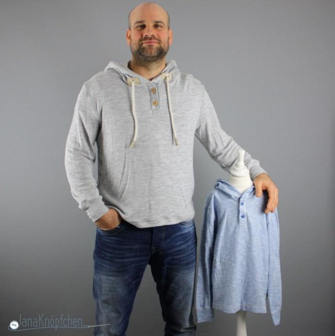 Mein erstes selbstgenähtes Männershirt aus Strick. Schnittvorbild war ein gekauftes Shirt von H&M. JanaKnöpfchen - Nähen für Jungs. Nähblog
