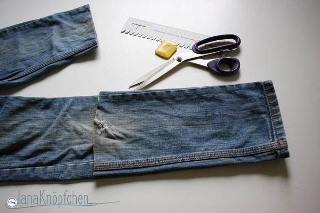 Tutorial Kürzen der Jeans Beine gleich abschneiden. JanaKnöpfchen - Nähen für Jungs. Nähblog