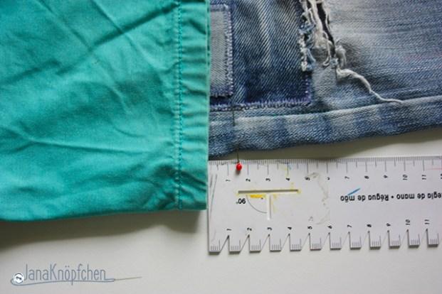Tutorial aus langer Jeans kurze Jeans nähen. Hose kürzen. JanaKnöpfchen - Nähen für Jungs. Nähblog