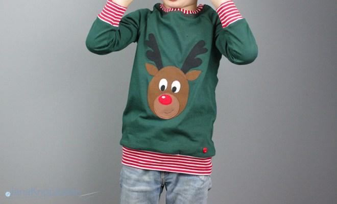 Selbstgenähtes Weihnachtsshirt mit Rentier Rudolf Applikation. JanaKnöpfchen - Nähen für Jungs
