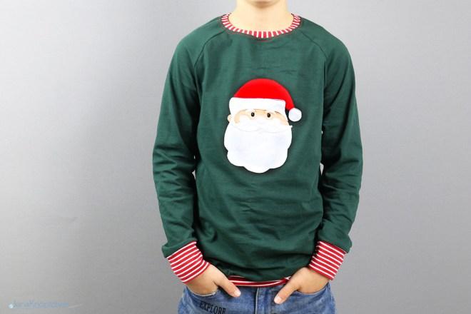 Weihnachtsshirt mit Weihnachtsmannapplikation für Jungs - Partnerlook unterm Tannenbaum. JanaKnöpfchen - Nähen für Jungs