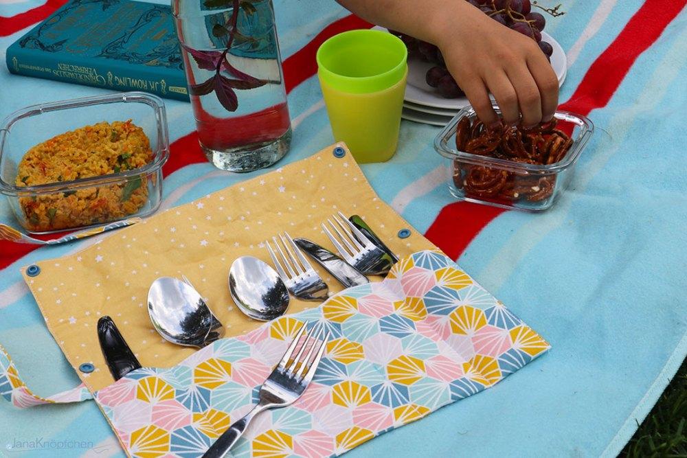 Tutorial: Bestecktasche nähen. Praktisch für ein Picknick. JanaKnöpfchen - Nähen für Jungs