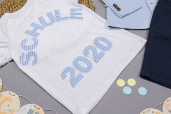 Applikation auf dem Einschulungs T-shirt. JanaKnöpfchen - Nähen für Jungs