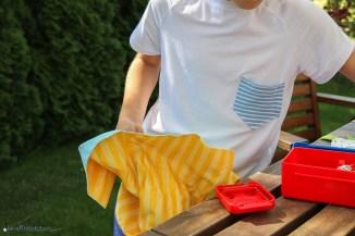 Tragebild des selbstgenähten T-Shirts für die Einschulung. JanaKnöpfchen - Nähen für Jungs