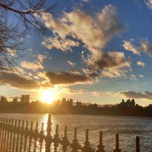 Photo taken at sunset on a long ramble in Central Park, January 2015.
