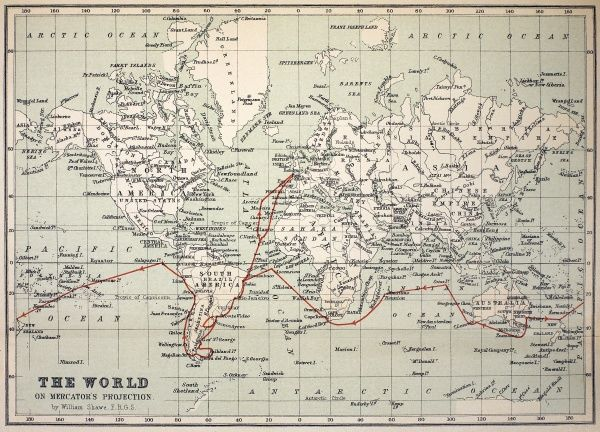 "Map of the World with Voyage of the Beagle coloured in red. Appendix from ""The Voyage of HMS Beagle"" by Charles Darwin (Cover Title) New Edition 1890 John Murray Publishers. Coloured print, retaining gentle age-toning of the original."